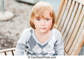 Close up portrait of a cute toddler boy