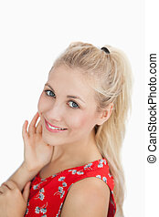 Close-up portrait of a cute woman smiling