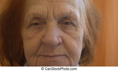 close up portrait of a elderly woman looking at the camera