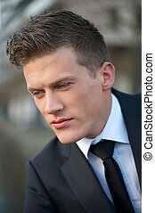 Close Up Portrait of a Handsome Businessman
