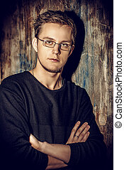 spectacles - Close-up portrait of a handsome young man in...