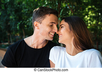 Close up portrait of a happy young couple in love