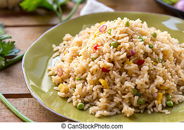 a plate of fried rice