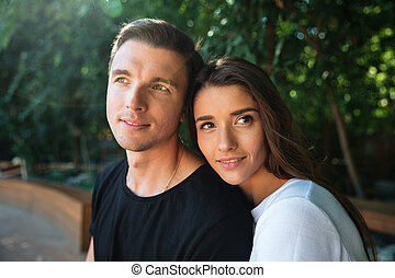 Close up portrait of a smiling attractive couple