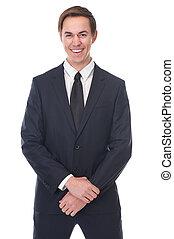 Close up portrait of a smiling businessman