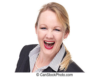 Close up portrait of a smiling businesswoman