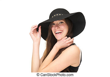 Close up portrait of a smiling woman with black hat