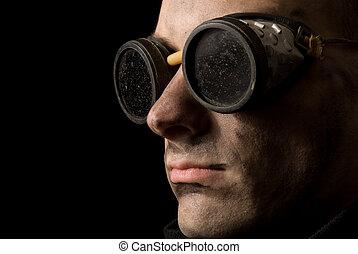 close-up portrait of a strange man
