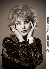 Close-up portrait of a woman's blonde