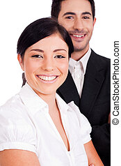 Close up portrait of a young business people smiling