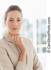 Close-up portrait of a young businesswoman