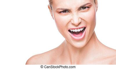 Close up portrait of amazing beautiful fashion woman saying yeah. Isolated on white background
