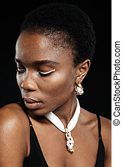 Close-up portrait of an attractive young african american woman