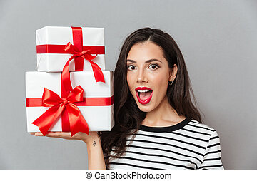 Close up portrait of an excited woman
