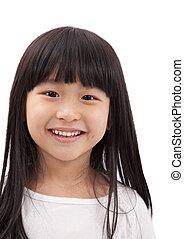 Close-up portrait of Asian little girl on white background...