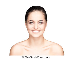 Close-up portrait of attractive and happy caucasian girl with a beautiful smiling face isolated on white
