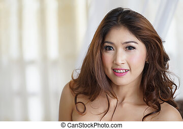 Close-up portrait of attractive beautiful Asian woman