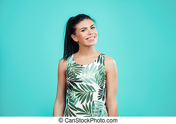 close up portrait of awesome young woman wearing dress