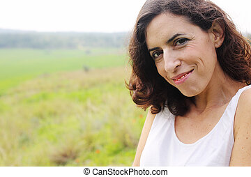 Close up portrait of beautiful 40 years old woman