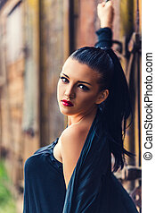 Close-up portrait of beautiful brunette