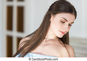 close up portrait of beautiful caucasian young adult woman