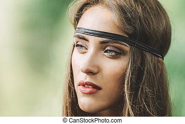 close up. portrait of beautiful hippie girl