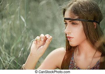 close up. portrait of beautiful hippie girl .