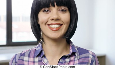 Close up portrait of beautiful woman smiling