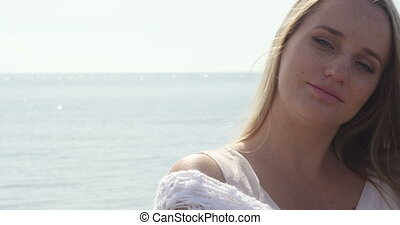 Close up portrait of beautiful young blond woman