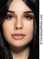 Close Up Portrait Of Beautiful Young Brunette Woman.