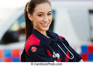 young female emergency medical technician - close up ...