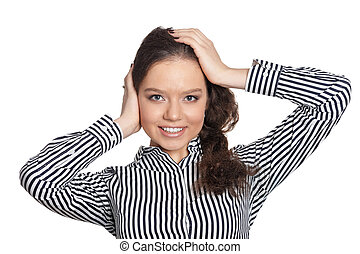 Close up portrait of beautiful young woman on white background