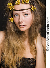 close up portrait of beauty young woman with flowers, sensual people happy