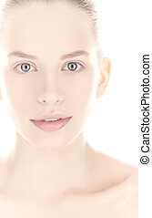 Close up portrait of blond woman.