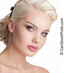 Close Up Portrait of Charming Blond Woman with Natural Clean...