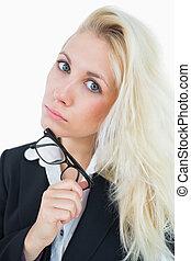Close-up portrait of confident young business woman