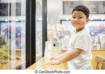 close up portrait of cute asian boy