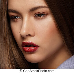 Close Up Portrait of Cute Woman with Perfect Skin