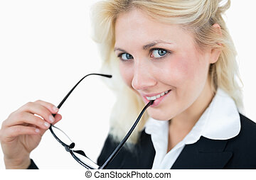 Close-up portrait of cute young business woman
