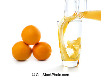 fresh orang juice poured into a glass