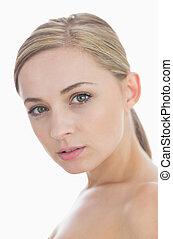 Close-up portrait of fresh woman's face