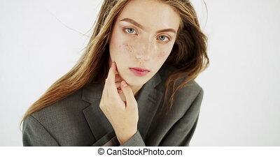 Close Up Portrait of Girl - Portrait of sensual young female...
