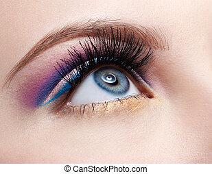 close-up portrait of girl's eyezone make up