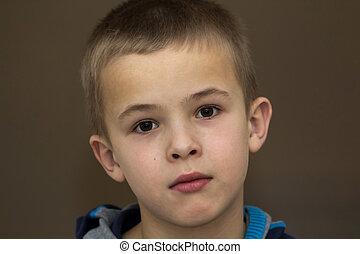 Close-up portrait of handsome little boy