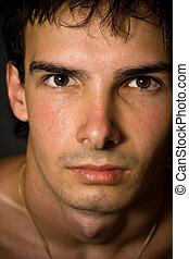 Close-up portrait of handsome man