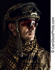 military man in helmet and glasses