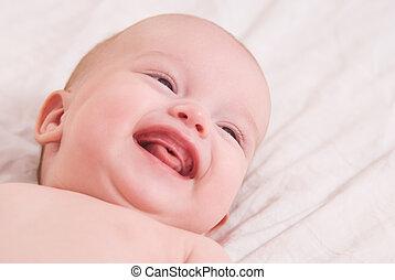 Close-up portrait of happy baby