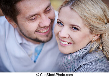 Close up portrait of happy smiling couple in love