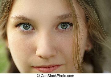 close up portrait of happy teen girl