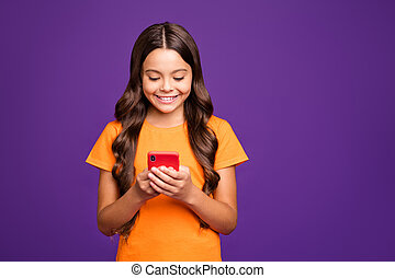 Close-up portrait of her she nice attractive charming lovely cheerful cheery wavy-haired girl using digital gadget 5g app isolated on bright vivid shine vibrant lilac purple violet color background